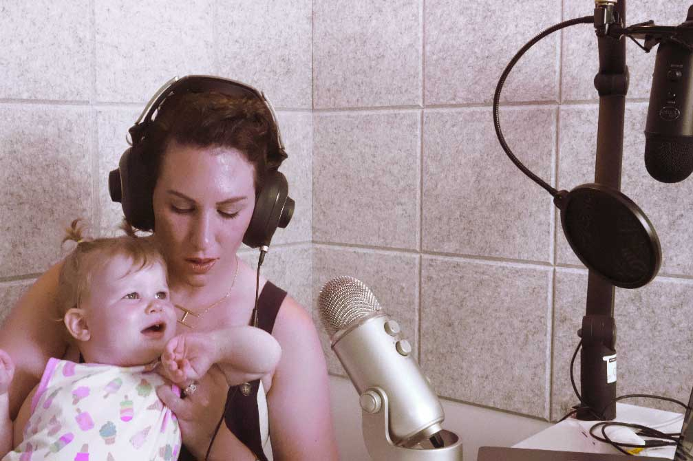 heather in the recording booth