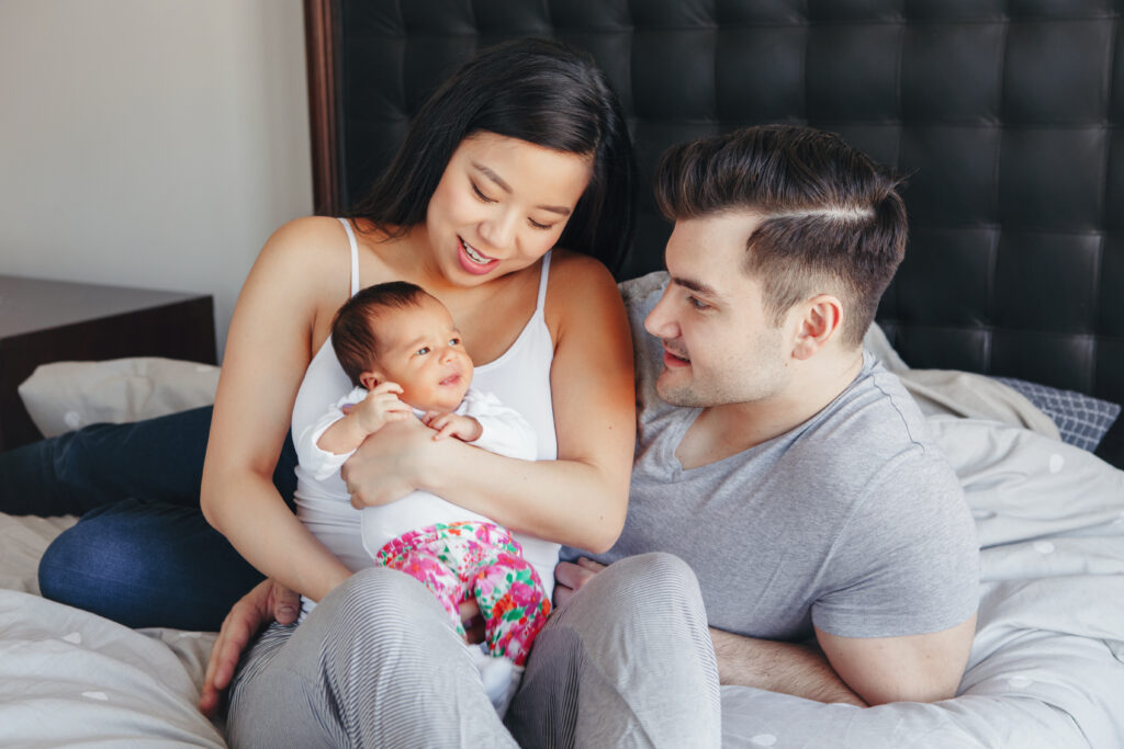 Family receiving postpartum care at home